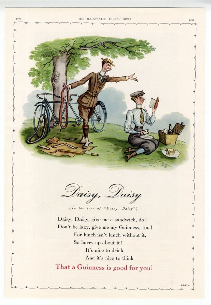 1937 GUINNESS Advert DAISY DAISY GE 685 A. Henry Dacre SOLD
